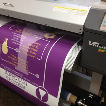 Large format printing of a banner sign