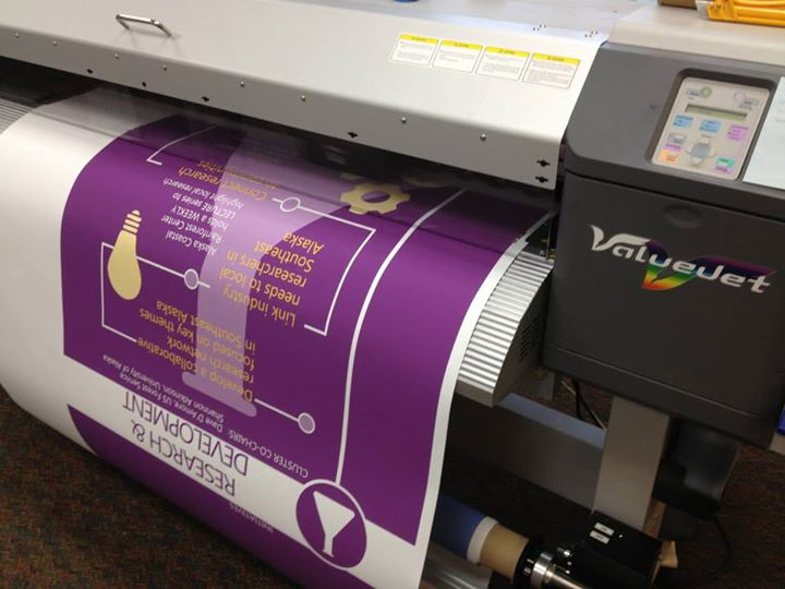 Large-format printing of a banner sign
