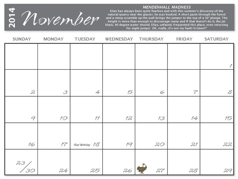 Calendar design month template for 8.5x11 page
