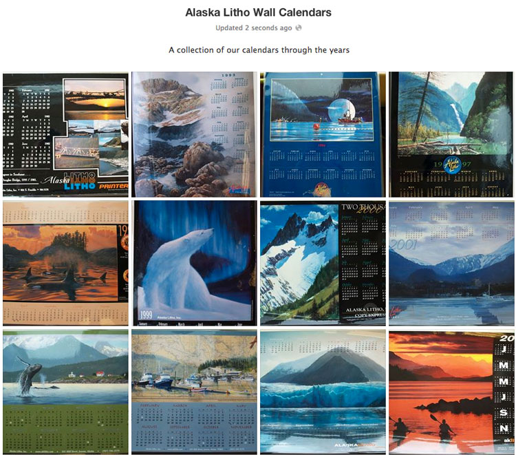 Facebook album with Alaska Litho wall calendar history