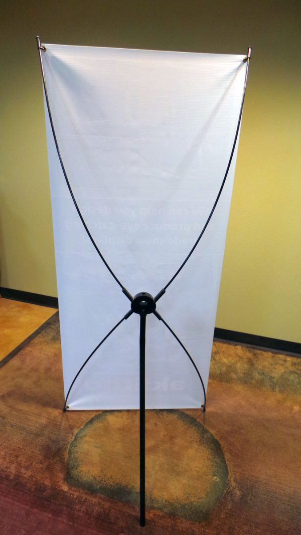 This spring-back banner stand is flexible, and we can work with you on custom banner sizes.