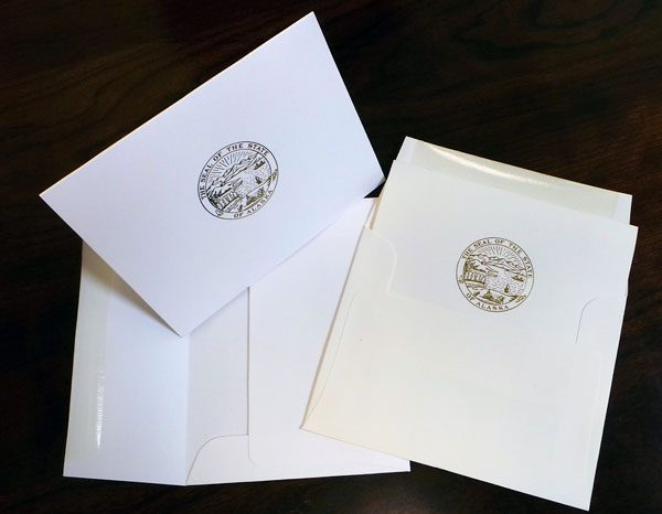 Ivory or white notecards for State of Alaska legislature stationery sets