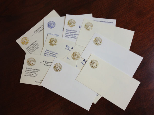State of Alaska Legislature business cards in ivory or white with gold foil seal