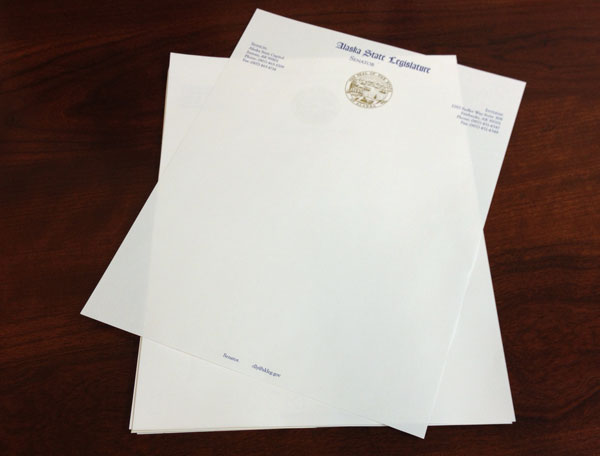 Letterhead second sheets for legislature stationery sets