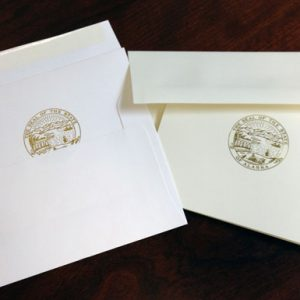 A-2 envelopes and notecards in ivory or white for State of Alaska legislative session stationery