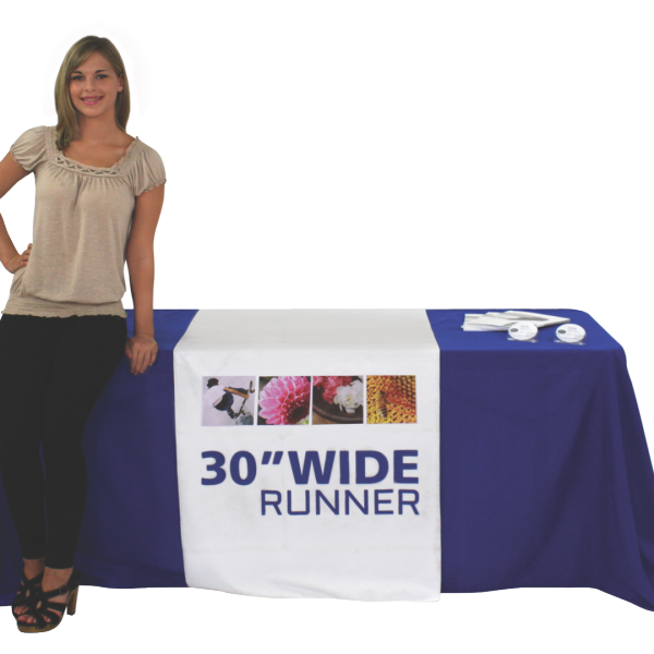 30-inch wide table runner, custom printed for your display