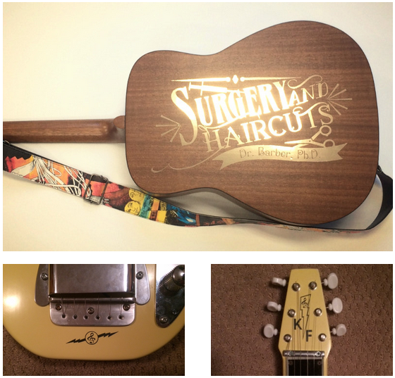 Gold vinyl decals on a guitar and lap steel, printed at Alaska Litho