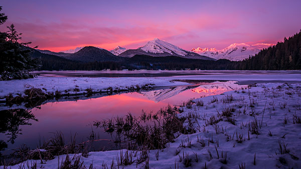 Auke Lake Pink Sunset by Donna Johnson