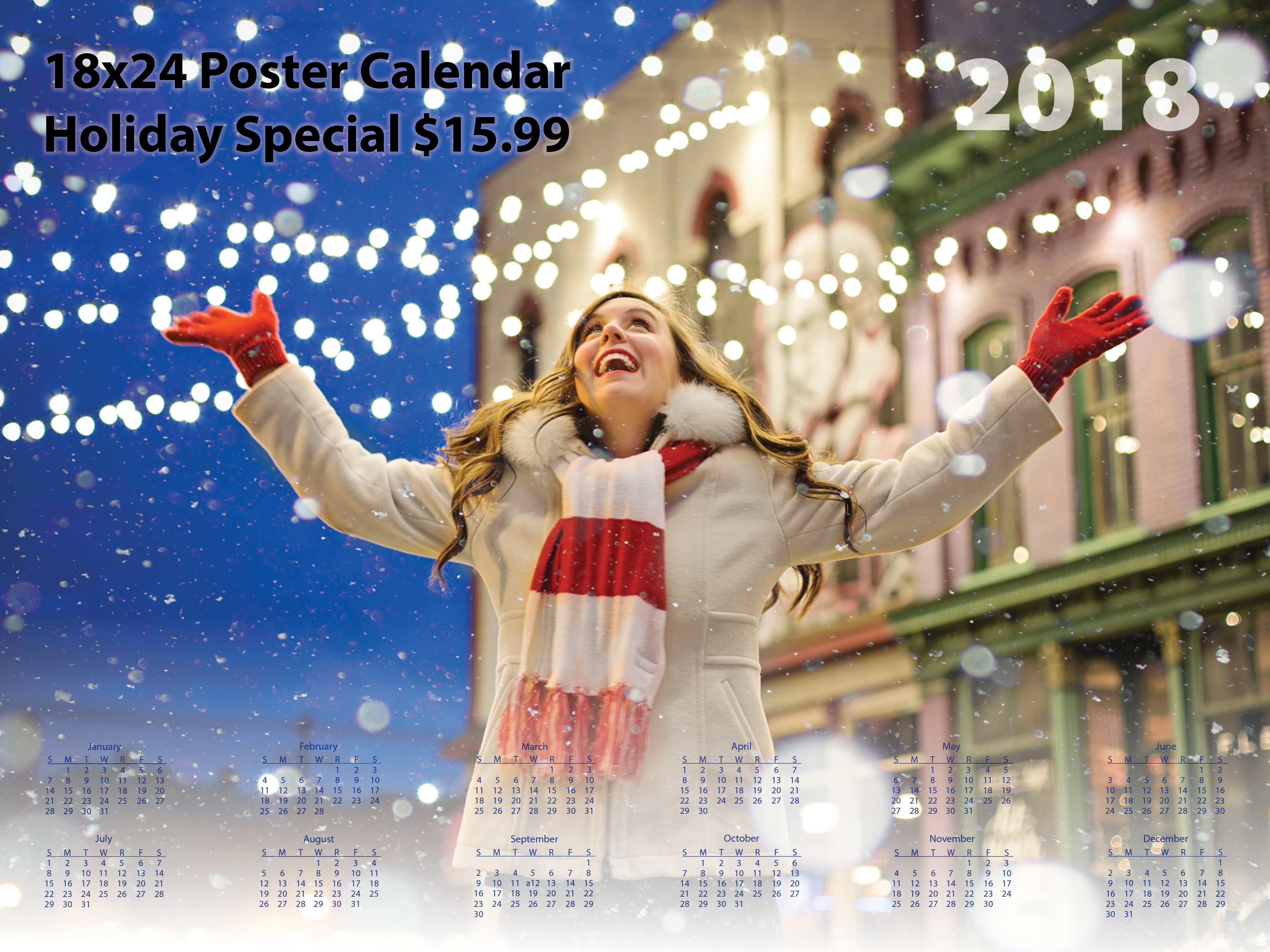 2018 personalized photo poster calendar