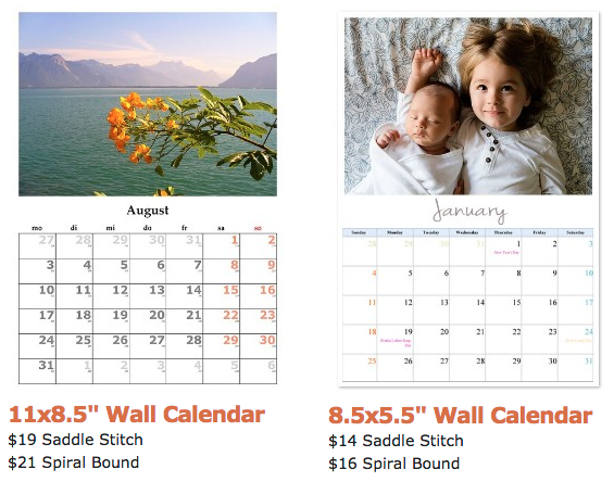 12-month photo wall calendars