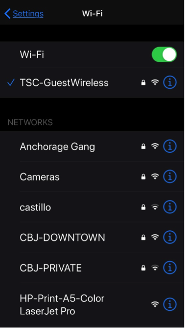 Screenshot of how to check your wifi name and password