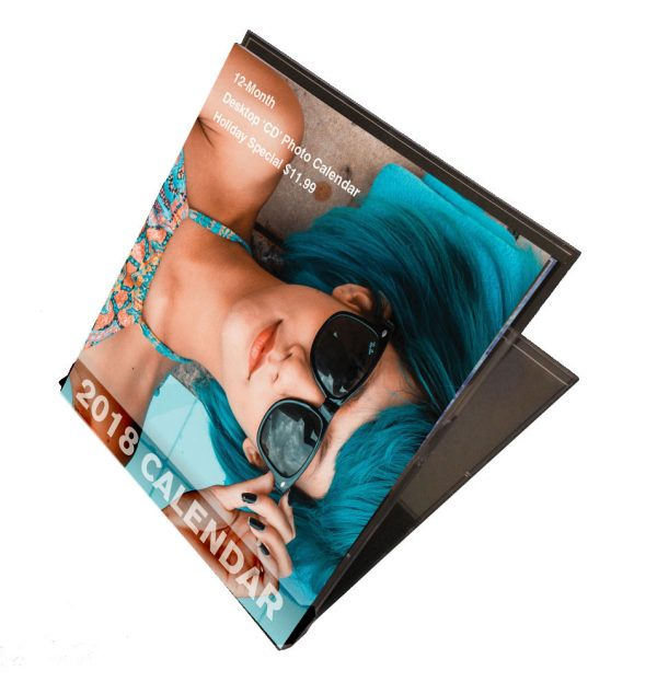 Personalized Photo Calendars in a CD case stand