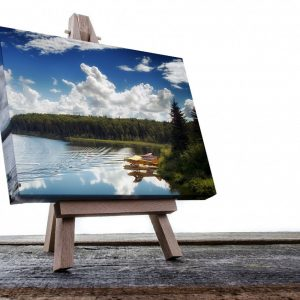 Photo of a float plane on an Alaskan lake, printed on canvas