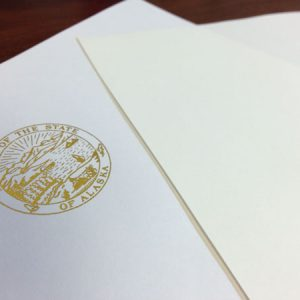 Letterhead with State of Alaska gold seal for legislature