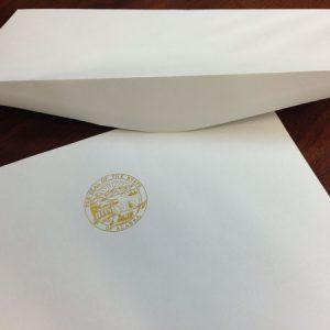 Letterhead envelopes in white or ivory for State of Alaska legislature stationery sets