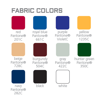 Available fabric colors for the full table throw