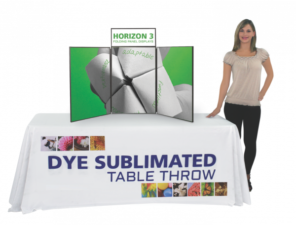 Printed table throw shown with folding tabletop panel display