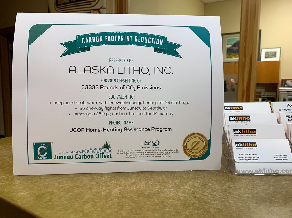 Certificate for offset carbon from being a Supporting Partner of the Juneau Carbon Offset Fund
